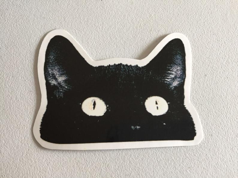 Black Cat Laptop Sticker Cat MacBook Sticker Peeping Cat image 0