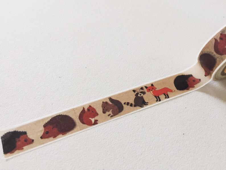 Woodland Animals Washi Tape Fox Planner Washi Hedgehog image 0