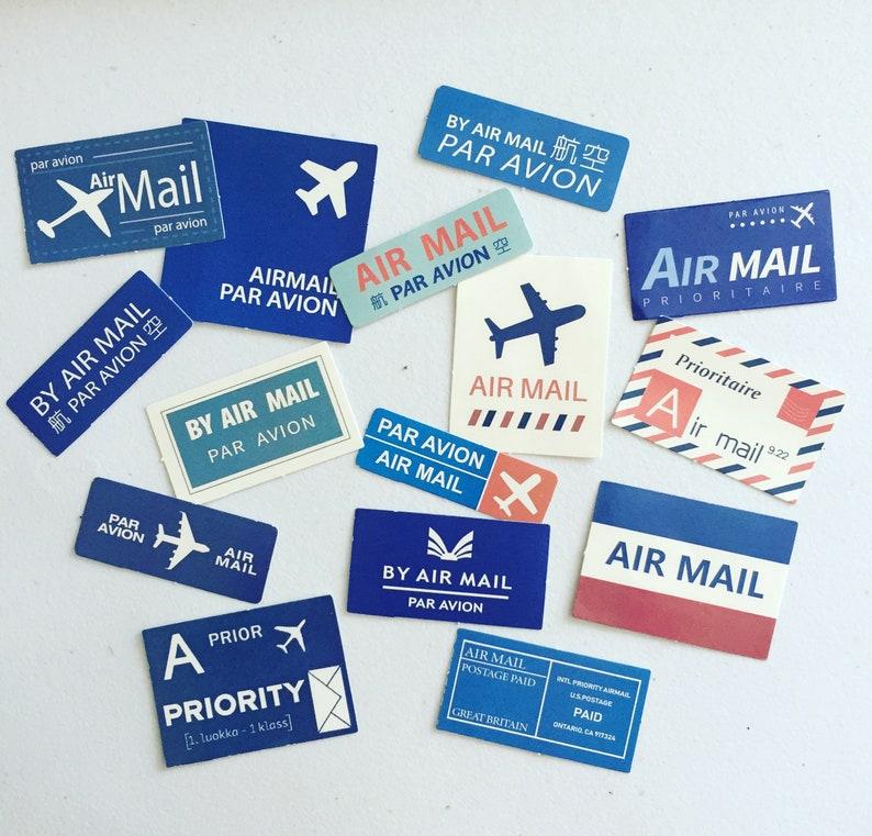 Air Mail Travel Planner Stickers Priority Mail Deco Stickers image 0