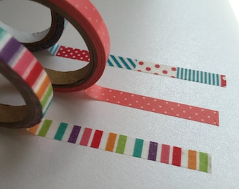 3 x Rainbow Stripes Washi Tape, Polka Dot Washi Tape, Planner Washi, Decorative Tape, Gift Wrapping Tape, Scrapbook Supply, Party Supplies