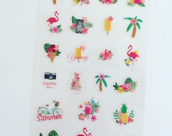 Flamingo Planner Stickers, Tropical Summer Deco Stickers, Envelope Seal Stickers, Card Embellishment, Craft Stickers, Scrapbook Stickers