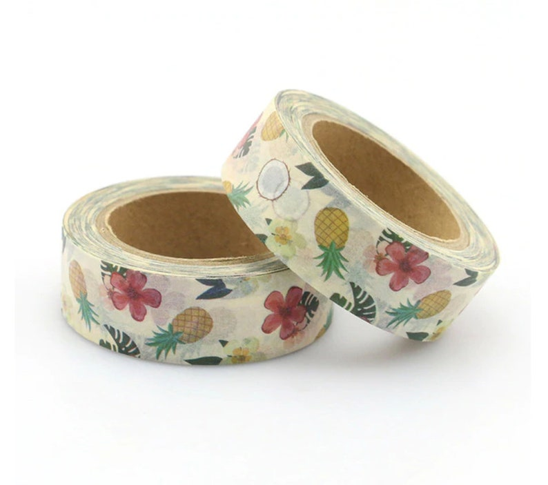 Tropical Pineapple Coconut Washi Tape Hibiscus Planner Washi image 0