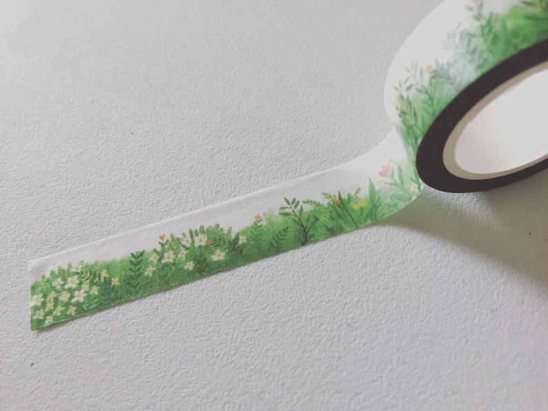 Green Field Washi Tape Greenery Planner Border Spring Washi image 0
