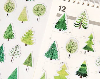 Green Trees Stickers, Forest Stickers, Greenery Planner Stickers, Woodland Stickers, Planner Supplies, Greenery Deco Crafting Stickers