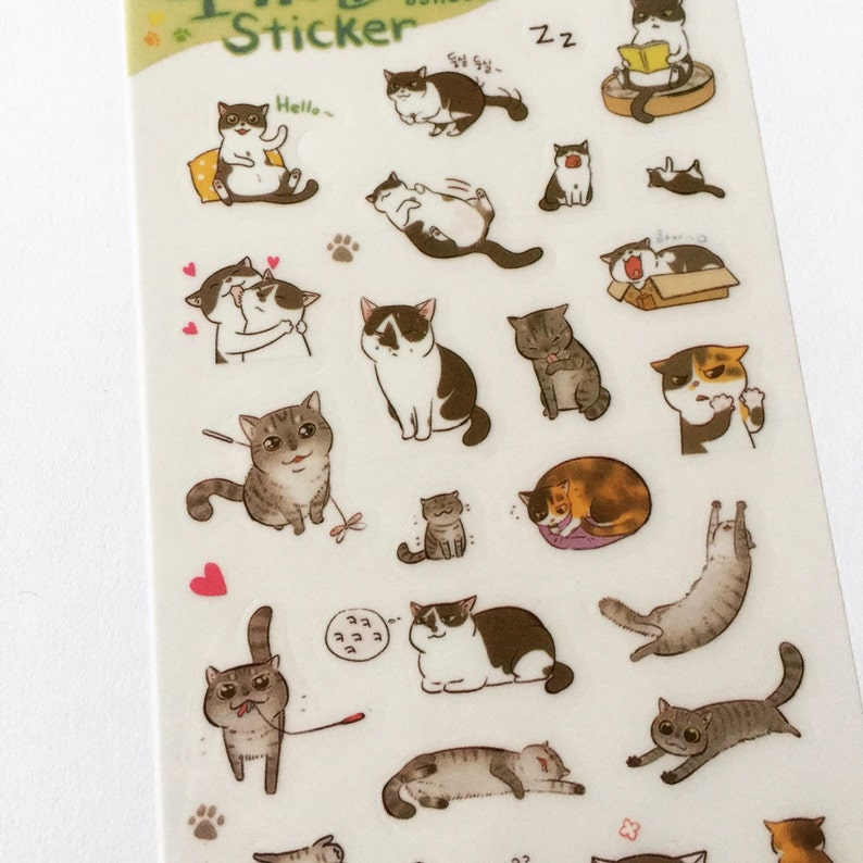 Kawaii Cat Stickers Cat Planner Stickers Diary Stickers image 0
