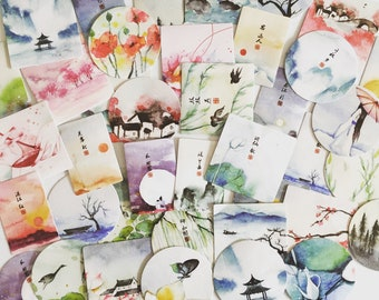 Japan Watercolour Art Stickers, Japanese Landscape Seal Stickers, Gift Wrapping, Paper Labels, Packaging Labels, Asian Scrapbook Stickers