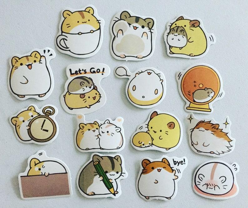Chibi Hamster Planner Stickers Kawaii Animal Diary Stickers image 0
