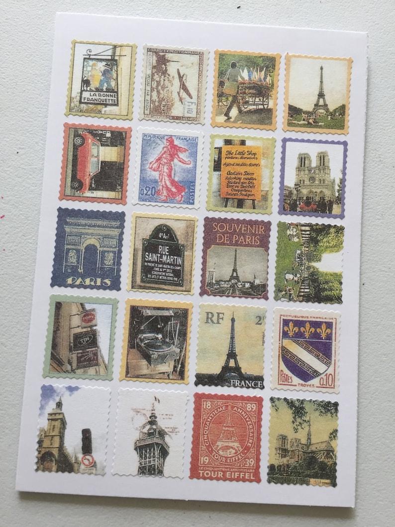 Paris Vintage Stamp Stickers Postage Stamp Stickers image 0