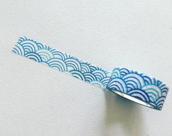 Blue Shibori Washi Tape, Japanese Wave Pattern Decorative Tape, Japan Crafting Tape, Gift Wrapping, Planner/Scrapbook Supplies