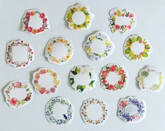 Floral Wreaths Paper Stickers, Floral Tag/Seal Stickers, Envelope Sealing Stickers, Wedding/Party Favour, Gift Wrapping, Happy Post And Mail
