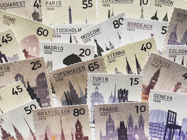 Vintage European Cities Stickers Retro Historic Landmarks image 0