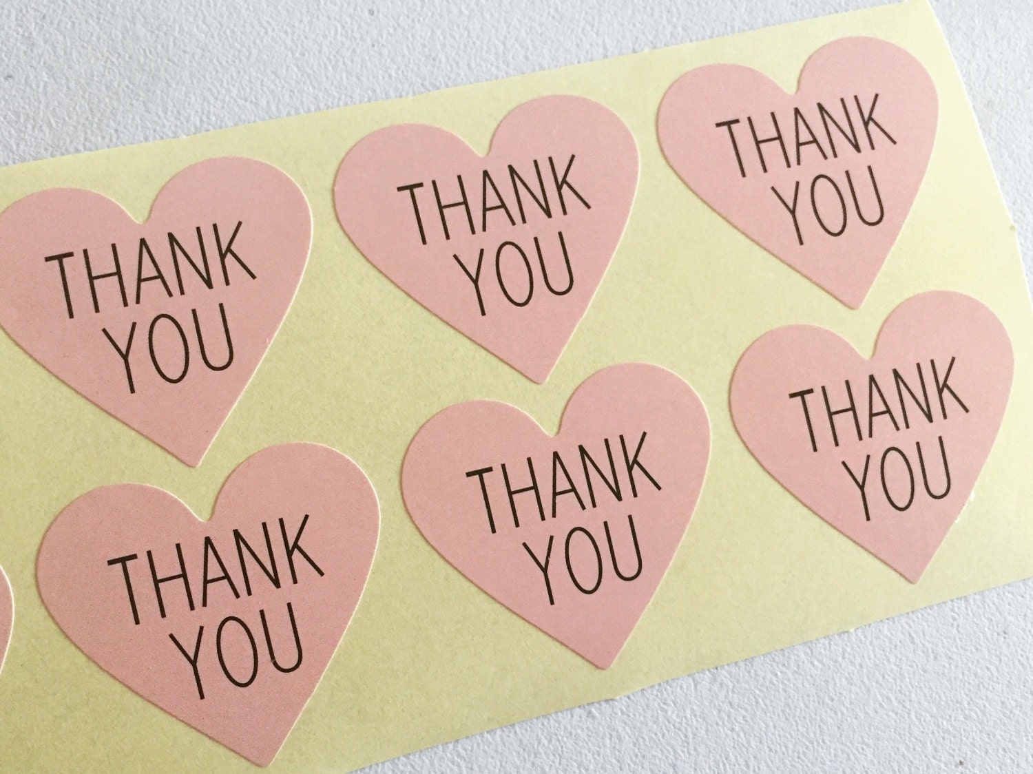 Hearts Paper Stickers Thank You Labels Pink Hearts Tags | Etsy