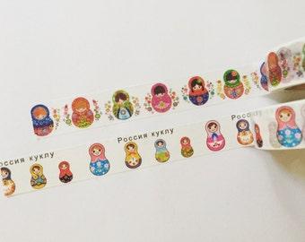 Russian Dolls Washi Tape, Matryoshka Washi, Folk Doll Crafting Tape, Planner Supplies, Scrapbook Supplies, Masking Tape (10M Roll)