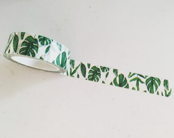 Green Monstera Leaves Washi Tape, Swiss Cheese Plant Washi Tape, Greenery Planner Border, Green Leaf Crafting Tape, Greenery Deco Tape