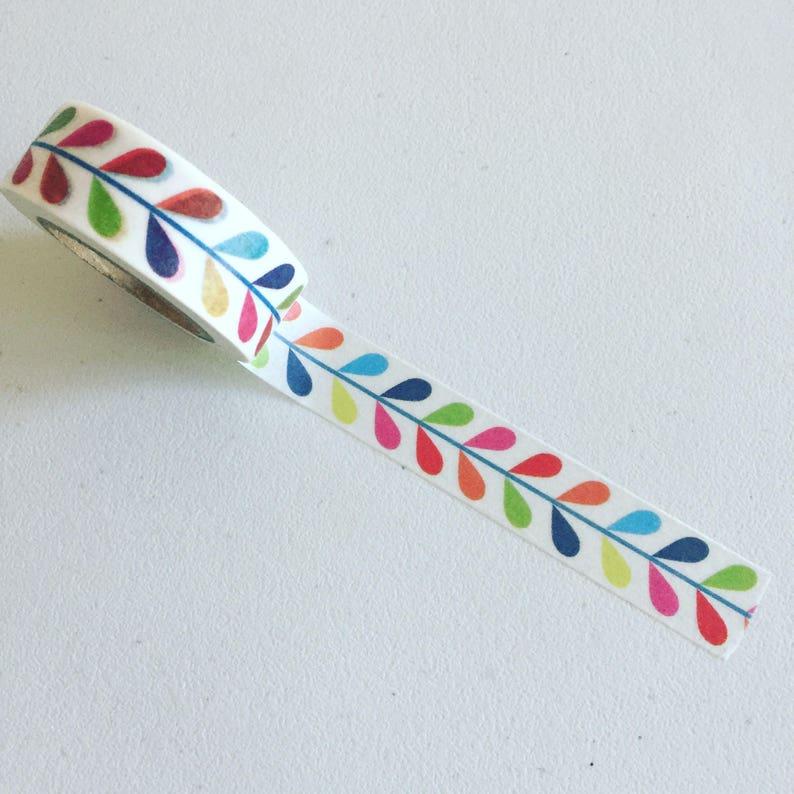Stem Pattern Washi Tape Retro Leaf Washi Colorful Planner image 0