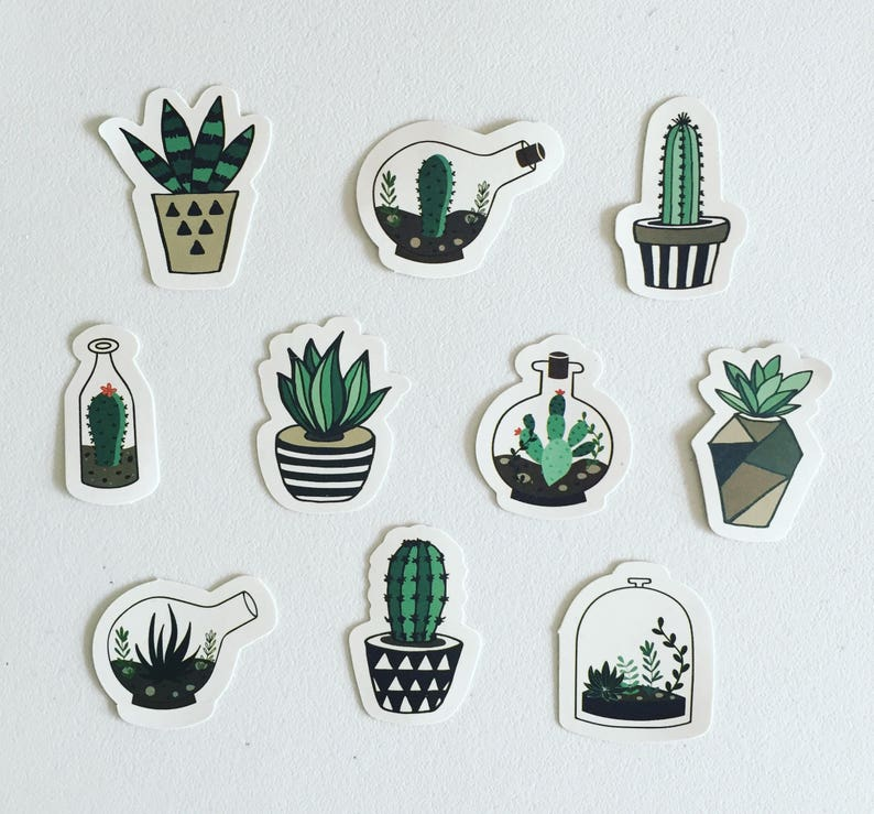 Succulent Sticker Set Geometry Planters Stickers Cacti image 0