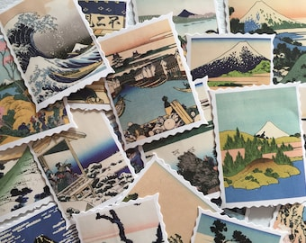 Japanese Ukiyo-e Art Stickers, Japan Landscape Stamp Stickers, Japanese Folk Art Stickers, Gift Wrapping, Envelope Seals, Scrapbook Stickers