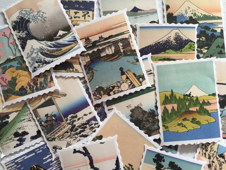 Japanese Ukiyo-e Art Stickers Japan Landscape Stamp Stickers image 0