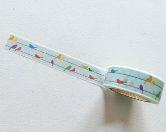 Birds On A Wire Washi Tape, Birdies Planner Washi, Gift Wrapping Tape, Crafting Tape, Planner Supplies, Japanese Washi Tape, Bird Lover Gift