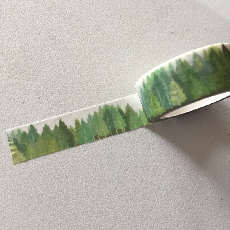 Green Forest Washi Tape Greenery Planner Border Woodland image 0