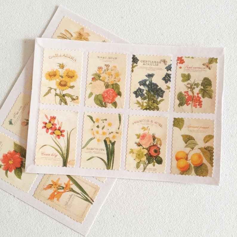 Floral Stamp Sticker Set Flower Art Stamp Stickers image 0