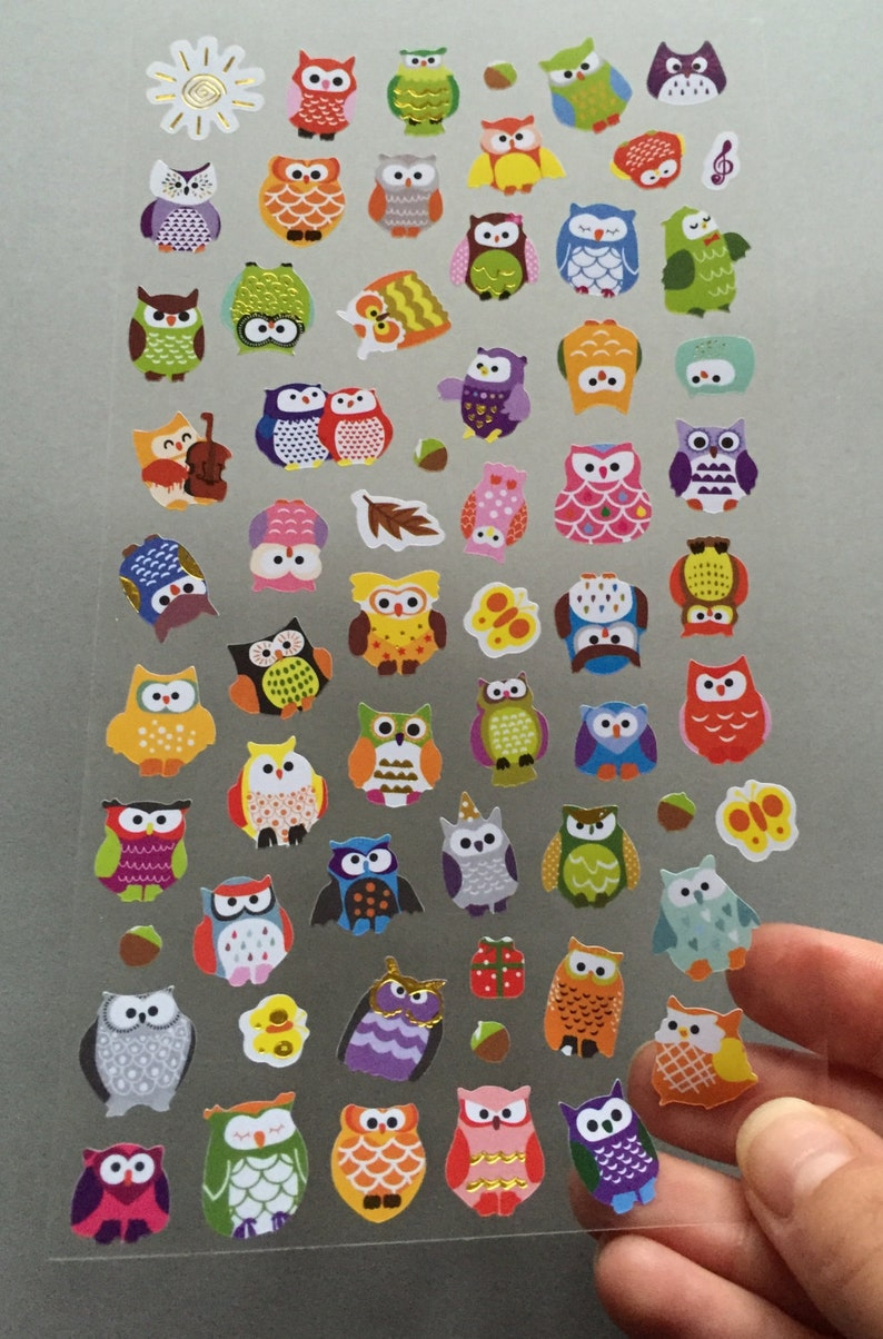 Owls Scrapbooking Stickers Owl Card Embellishments Owl image 0