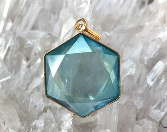 Aqua Aura Star of David Pendant - set in 18kt Gold Plate on Silver