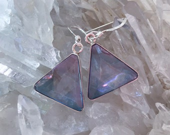 Tanzanite / Lavender  Aura Vogel - Star of David Earrings- set in Sterling Silver - A Grade !  Powerful