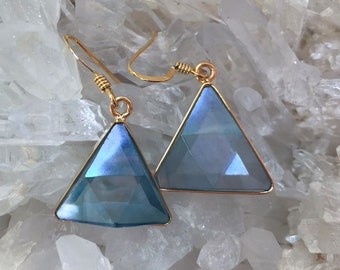 Aqua Aura Vogel - Marcel Vogel Earrings- set in 18kt Gold on Silver - A Grade !  Powerful