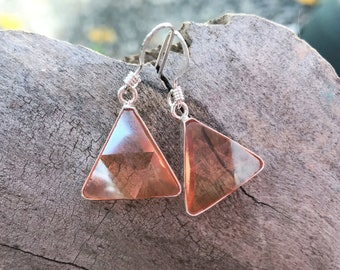Tangerine  Aura - Marcel Vogel Earrings - set in Sterling Silver - A Grade !  Powerful