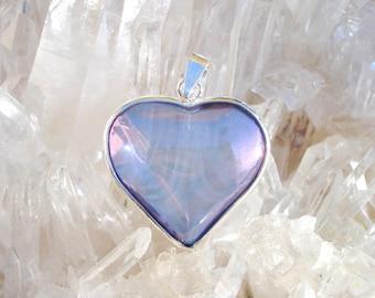 Tanzanite / Lavender  Aura Heart Pendant - Pure Joyful Energy- Wrapped in Sterling Silver  - A Grade !  Beautiful