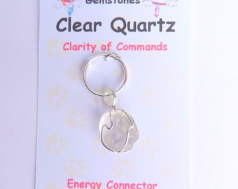 Clear Quartz Pet Gemstone Silver Pendant - Good Health