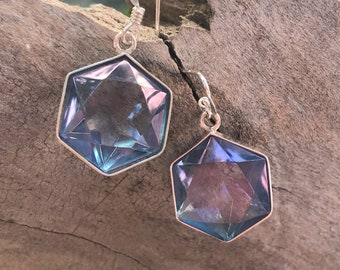 Tanzanite / Lavender Aura Flower of Life Earrings - set in Sterling Silver - A Grade !  Powerful