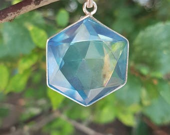 Aqua Aura Flower of Life Pendant - set in Sterling Silver - A Grade !  Powerful