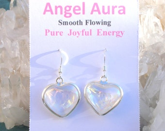 Angel Aura Heart Earrings - Pure Joyful Energy - Wrapped inSterling Silver  - A Grade !  Beautiful