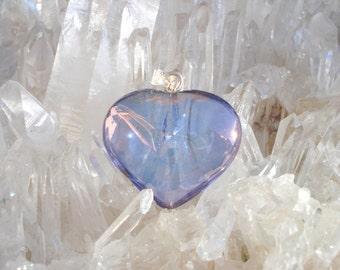 Tanzanite / Lavender  Aura Heart Pendant - Pure Joyful Energy- Sterling Silver  - A Grade !  Beautiful