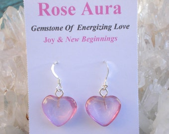 Rose Aura Heart Earrings -Double Love Energy- Sterling Silver Bail- A Grade !  Powerful