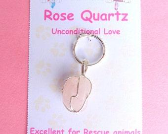 Rose Quartz  Pet Gemstone Silver Pendant - Inconditional Love