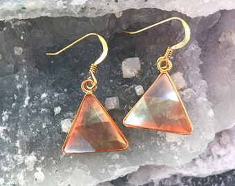 Tangerine  Aura - Marcel Vogel Earrings - set in 18kt Gold on Silver - A Grade !  Powerful