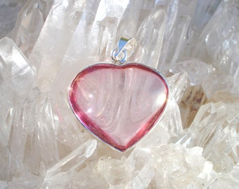 Rose Aura Heart Pendant -Double Love Energy- Wrapped inSterling Silver- A Grade !  Powerful