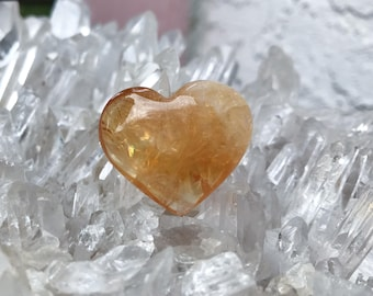 Beautiful Citrine Heart ~  Hand Carved!