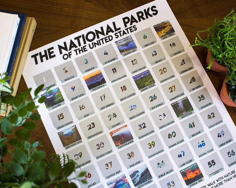 6ea2a4fa9aee Scratch Off National Park Poster 16x20 US Travel Tracker