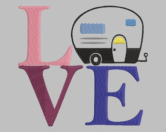 Love Camper Embroidery Design
