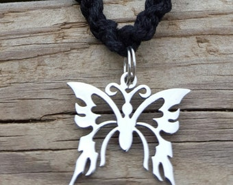 Handmade Spring Fling Tribal Butterfly Charmed Hemp Necklace