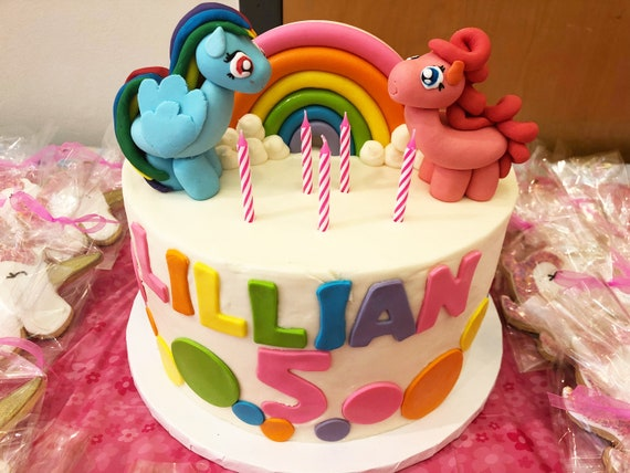 My Little Pony Cake Toppers Fluttershy Pinkie Pie Applejack Etsy