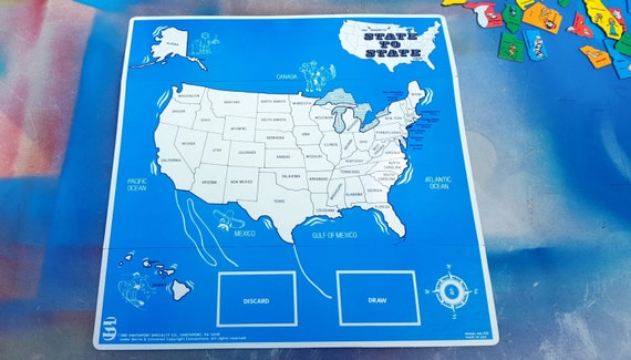 Vintage Game Board, Vintage Game, United States Map, 80s Game Board, Blue  Black and White, State to State Game Board, Map Game, USA, Map