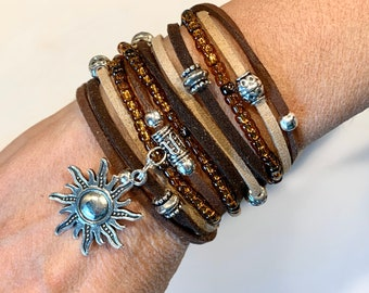 DOUBLE Wrap BOHO Bracelet Stackable Wrap Around Silver Studs Faux Suede Cord Gypsy Bangle Bracelet