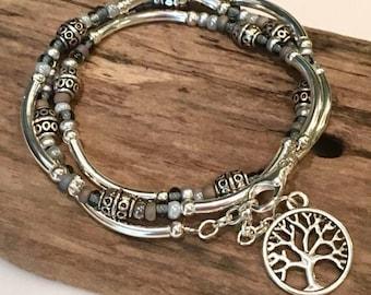 Boho Wrap Bracelet, Beaded Tube Wrap, silver l/gray mix wrap bracelet, beaded wrap, Tibetan style/Necklace Gift for mom, daughter