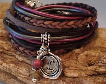 Top Seller! Wrap Bracelet, Leather boho Wrap, Leather Bracelet, Personalized, Cuff, Custom Charm,Grey, Silver, Plum,Burgundy