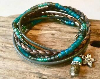 Wrap bracelet,Beaded Boho Wrap Bracelet, Boho Wrap,2X Multi Wrap Bracelet, Leather, Seed Beads, Gray, Blue, Turquoise, Custom,Charm